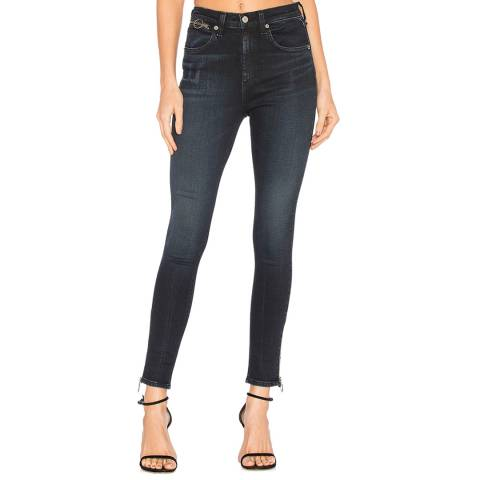 Rag & Bone Women's Charcoal Ring Dive Capri Skinny Stretch Cotton Jeans