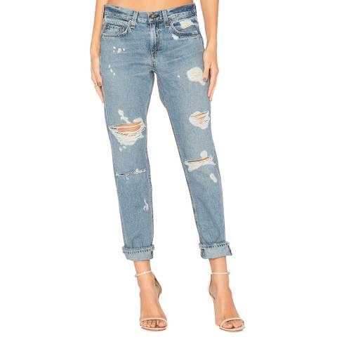 Rag & Bone Women's Blue Distressed Boyfriend Jeans