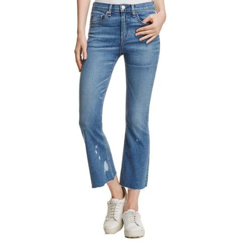 Rag & Bone Women's Blue Maybrooke Crop Flare Stretch Cotton Jeans