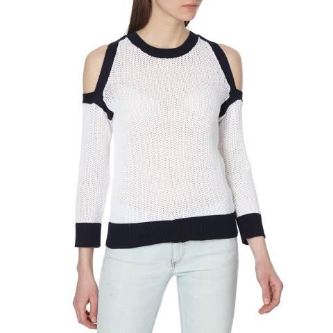 Rag & Bone Women's White Tracey Cold Shoulder Jumper