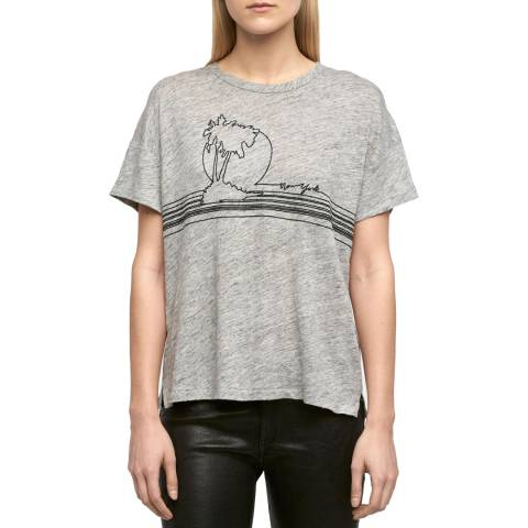 Rag & Bone Grey Palm Embroidered Linen T-Shirt