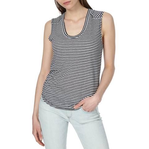 Rag & Bone Women's White/Navy Valley Stripe Top