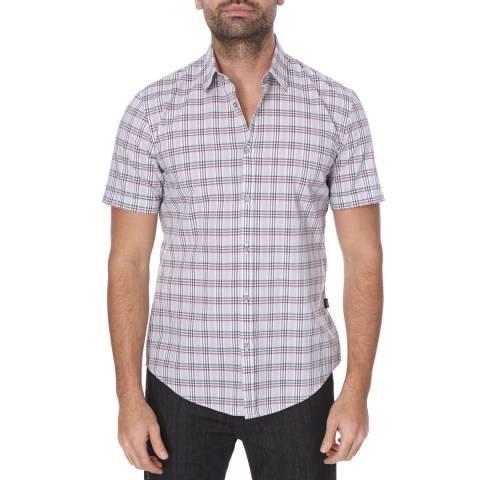 Boss by Hugo Boss Pale Grey/Pink Check Slim Fit Cotton Ronn Shirt