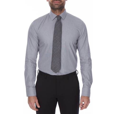 Boss by Hugo Boss Grey/White Micro Diamond Slim Fit Cotton Jenno Shirt