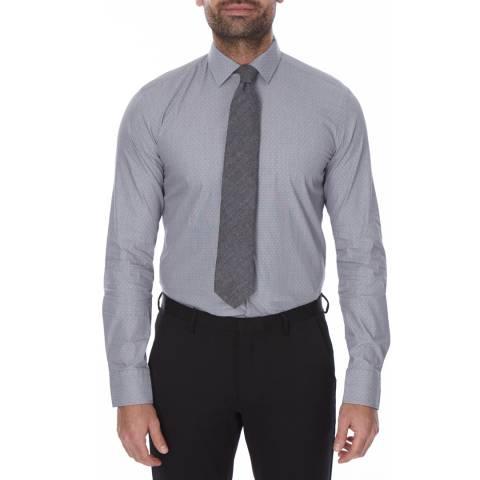 Boss by Hugo Boss Grey/White Micro Diamond Slim Fit Cotton Jenno Shirt