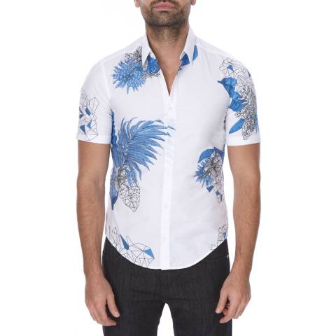 BOSS Green White/Blue Tropical Slim Fit Cotton Bhillo Shirt
