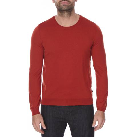 Boss by Hugo Boss Brick Red Crew Neck Wool Leno Jumper