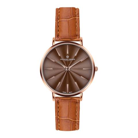 Frederic Graff Women's Croco Ginger Brown Monte Rosa Watch 38 mm