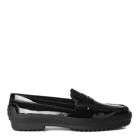 Tod's Ladies Black Patent Leather Loafer