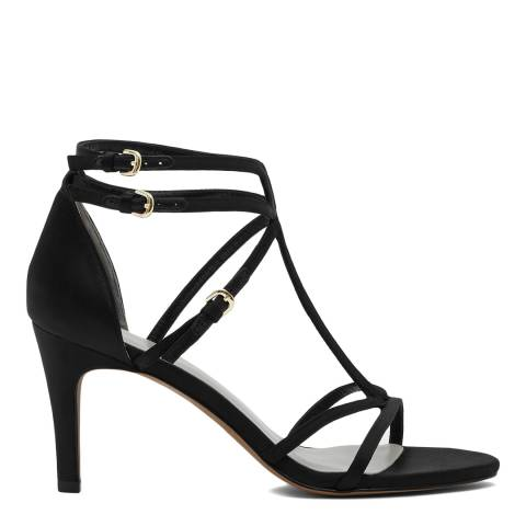 Reiss Black Satin Laurel T Bar Strappy Heels