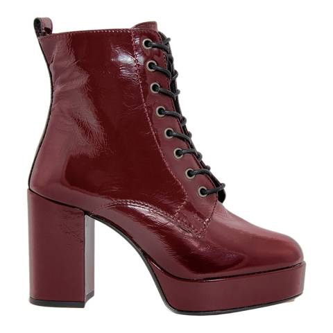 Gusto Bordo Patent Naplak Heel Lace Up Ankle Boots