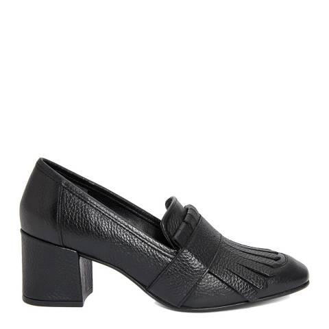 Gusto Black Leather Charlot Bottalato Heel Loafers