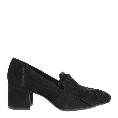 Gusto Black Suede Charlot Rovesciato Heel Loafers