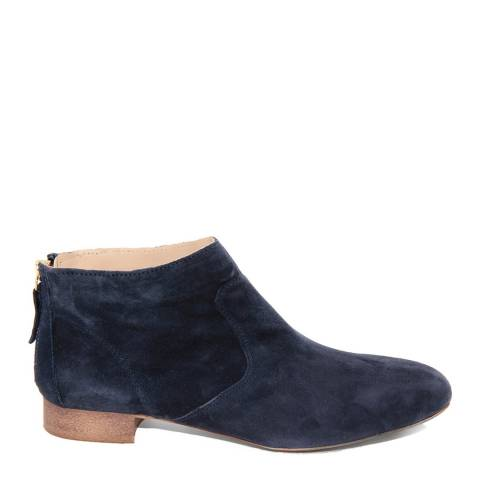 Eye Navy Suede Rovesciato Flat Ankle Boots