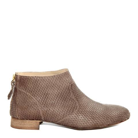 Eye Light Brown Leather Rock Flat Ankle Boots