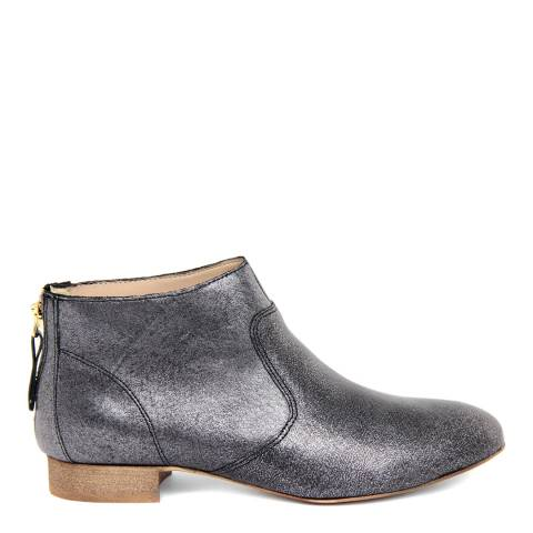 Eye Grey Leather Velour Metal Flat Ankle Boots