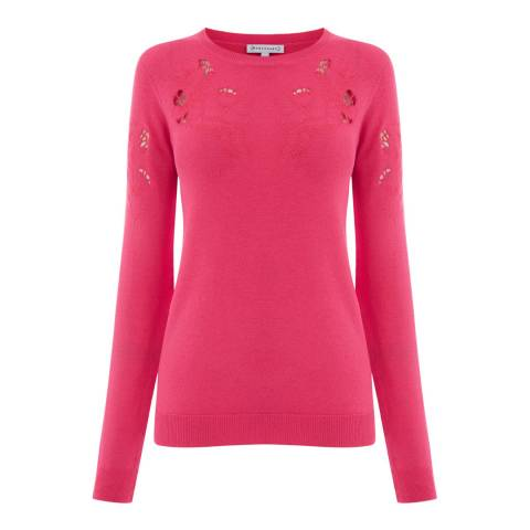 Warehouse Bright Pink Floral Embroidered Jumper
