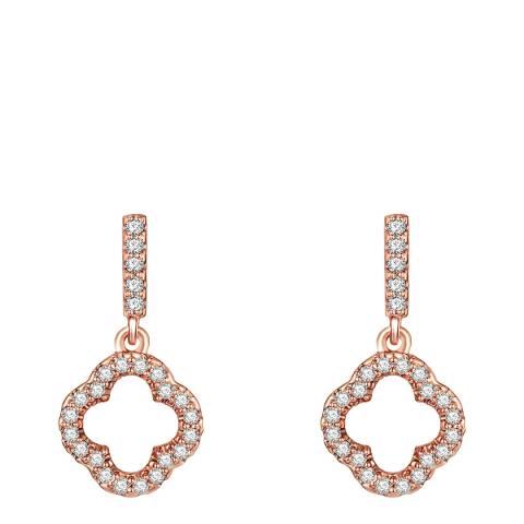 Runway Rose Gold Crystal Flower Earrings