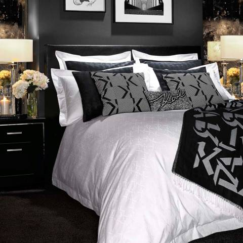 Karl Lagerfeld White Boutique Jacquard  Super King Duvet Cover