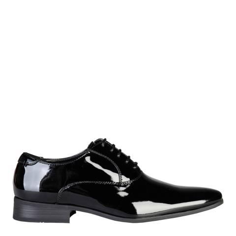Men's Black Leather Patent Almond Toe Derby Shoes