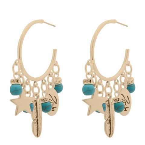 BiBi Bijoux Turquoise/Gold Charm Hoop Earrings
