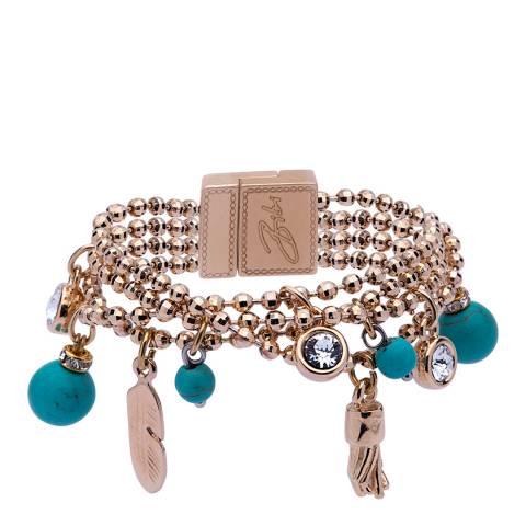 BiBi Bijoux Gold/Turquoise Layered Charm Bracelet