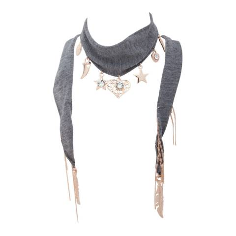 BiBi Bijoux Grey/Rose Gold Charm Scarf Necklace