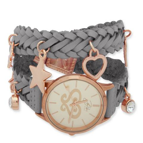 BiBi Bijoux Grey/Rose Gold Leather Charm Watch Bracelet