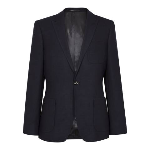 Reiss Navy Slim Fit Weave Reality B Blazer