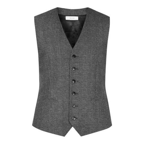Reiss Charcoal Slim Fit Wool Morrow W Waistcoat