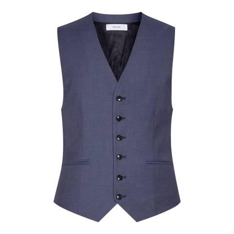 Reiss Blue Modern Fit Wool Harry W Waistcoat