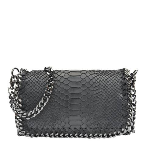 Luisa Vannini Black Textured Leather Chain Shoulder Bag
