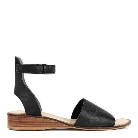Hudson Black Leather Fifa Ankle Strap Sandals