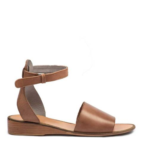 Hudson Tan Leather Fifa Ankle Strap Sandals
