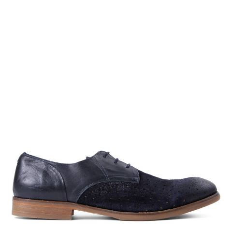 H by Hudson Men's Navy Leather/Suede Rogers Derby Shoes