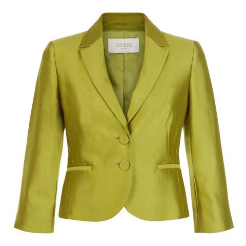 Hobbs London Green Silk and Wool Dalilah Jacket