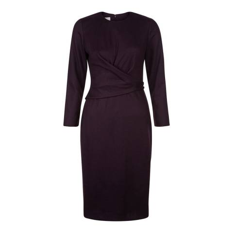Hobbs London Purple Wool Blend Mylene Dress