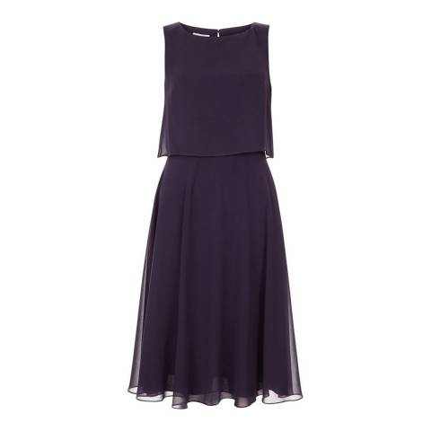 Hobbs London Purple Two Tiered Marielle Dress