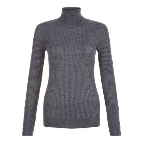 Hobbs London Grey Merino Wool Lara Roll Neck Jumper