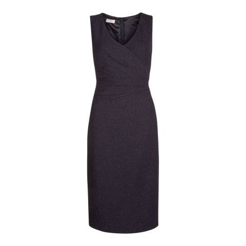 Hobbs London Navy Metallic Gia Wrap Dress