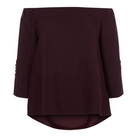 Hobbs London Red Bardot Perla Blouse