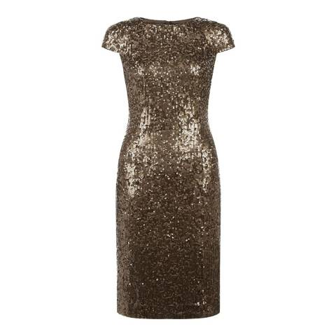 Hobbs London Gold Sequined Portia Dress
