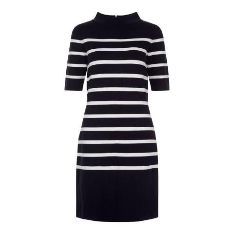 Hobbs London Navy/White Striped Janie Dress