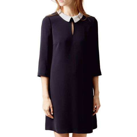 Hobbs London Black/White Collared Kady Dress