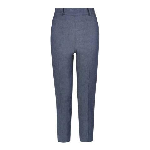 Hobbs London Blue Chambray Capri Trousers