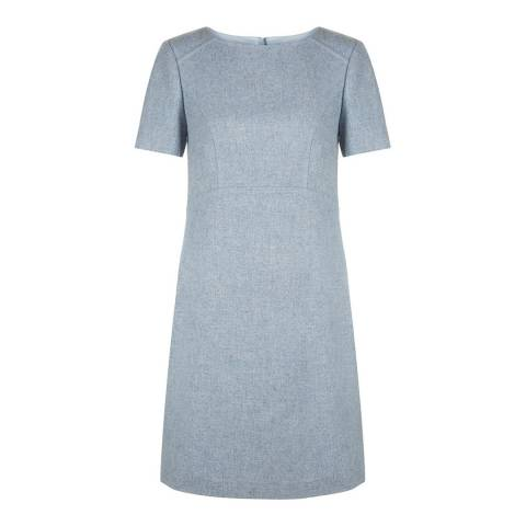 Hobbs London Blue Wool Blend Dacia Pinafore Dress