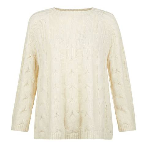 Hobbs London Cream Cable Knit Rosa Sweater