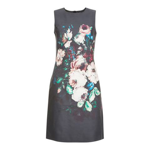 Hobbs London Black/Multi Wool Silk Painted Blooms Dress