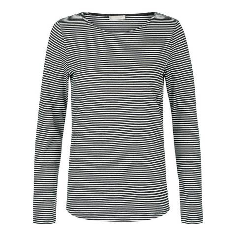 Hobbs London Grey/White Striped Evelyn Top