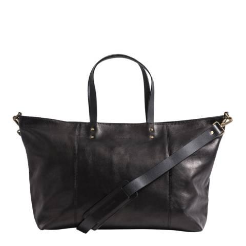 Forbes & Lewis Black Leather Teddington Weekend Bag